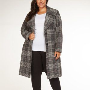 Long Belted Winter Coat in Grey Plaid